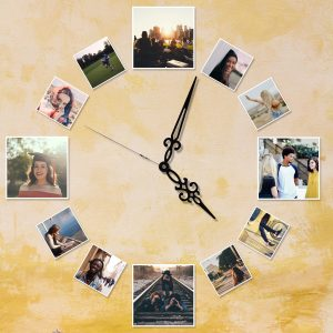 A Family clock made using small & large square photo prints with white border.
