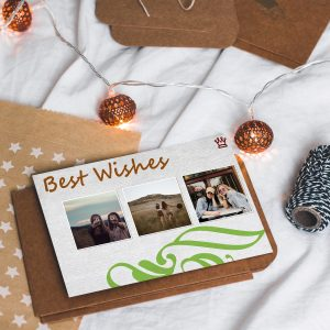 Make a greeting card with some 4x4 square photo prints.