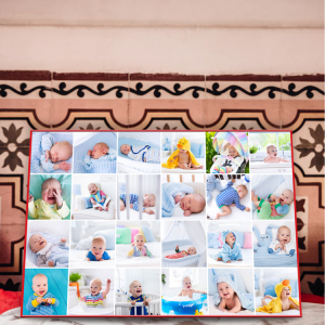 Collection of your baby's favorite photos as a collage poster grid.